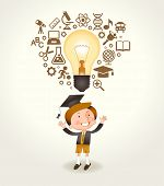 A cheerful boy having a good idea. Light bulb and education icons over his head boy. The file is sav