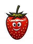 image of googly-eyes  - Cartoon vector of a ripe red happy smiling fresh strawberry with a green stalk and googly eyes suitable for kids isolated on white - JPG