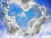 Heart of clouds symbol of love, vintage retro foto