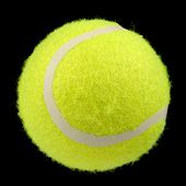 Bright Green Lawn Tennis Ball On Black Background