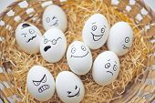 picture of easter basket eggs  - Easter eggs with different facial expressions in basket - JPG
