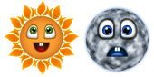 Merry, the sun and the moon is sad.