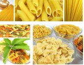Collection made of photos of uncooked pasta