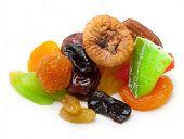 Mix dried fruit isolated on white background