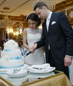 Bride and groom making a wish as they cut the cake