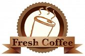 Illustration of a fresh coffee label with a disposable coffee glass on a white background