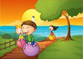 pic of bouncing  - Illustration of the happy kids playing with the bouncing balls - JPG