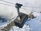 Cable car arriving to Auguille du Midi from Chamonix