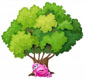 Illustration of a pink monster resting under the tree on a white background