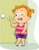 Illustration of a Little Girl Frantically Knocking on the Restroom Door to Pee