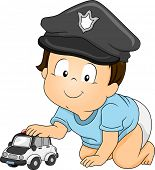 Illustration of a Baby Boy Wearing a Police Cap