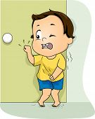 Illustration of a Little Boy Frantically Knocking on the Restroom Door to Pee