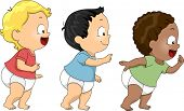 Illustration of Baby Boys Walking Towards the Right Side of the Screen
