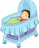 Illustration of a Little Boy Lying on a Blue Bassinet
