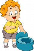 Illustration of a Little Boy Standing Beside a Potty