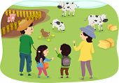 Illustration of a Family Enjoying a Day in the Farm