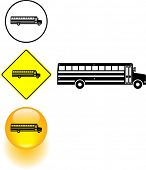 picture of motor-bus  - school bus symbol sign and button - JPG