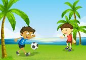 Illustration of the boys playing football at the riverbank