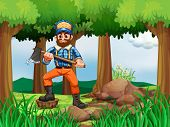 Illustration of a forest with a woodman holding an axe