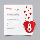 Red paper rose 8 March Women's Day card.