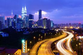 stock photo of klcc  - Kuala lumpur skyline - JPG