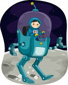 Illustration Featuring a Kiddie Astronaut Controlling a Space Robot