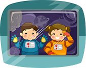 Illustration Featuring a Pair of Kids Wearing Space Suits Gazing into Space