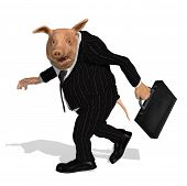 image of greedy  - a pig dressed as a greedy corporate executive takes his bonus and walks away  - JPG
