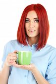 Young beautiful business woman holding cup close up