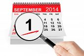 1 September Day Concept. 1 September 2014 Calendar With Magnifier
