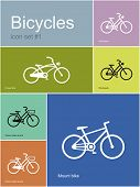 Various bicycles. Set of Metro styled icons. Editable vector illustration.
