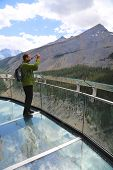 Tourist at the Glacier Skywalk in Jasper National Park