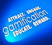 Gamification word on a blue background and Attract, Engage, Educate and Retain students, customers o