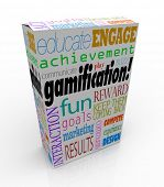 Gamification words on a product package or box including educate, engage, fun, reward, compete, expe