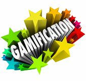 Gamification word in colorful stars or fireworks to gamify your marketing campaign or educational program or plan