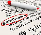 Gamification word circled on a dictionary page with the definition educating you on the term gamify