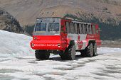 Massive Ice Explorer, specially designed for glacial travel, take tourists in the Columbia Icefields