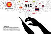 Hands touch Asean map network.