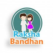 Stylish sticky with cute little brother and sister and colorful text on white background for Raksha Bandhan celebrations.