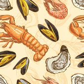 Seamless Background With Seafood