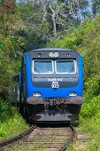 ELLA, SRI LANKA - MARCH 2, 2014: Train on railway in forest. Trains go to Colombo and Kandy from Ell