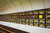 Prague underground subway. Namesty Republiky st.