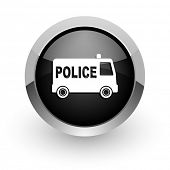 police black chrome glossy web icon