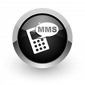 mms black chrome glossy web icon
