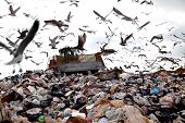 stock photo of landfills  - landfill and waste getting bigger each day - JPG
