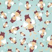 Seamless pattern with Cupid