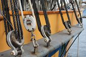 Rigging Detail On A Sailing Ship In The Pacific Northwest