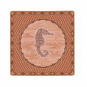 Seahorse Woodcut Vector