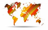 World map with Abstract colorful straight lines background.Vector file.
