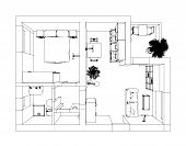 pic of interior sketch  - Perspective pen sketch of 3D interior apartment - JPG